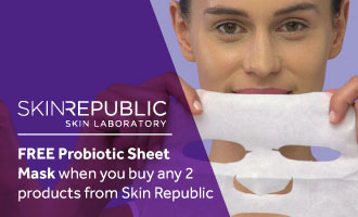 Buy any 2 products from Skin Republic and receive a free Probiotic Sheet Mask